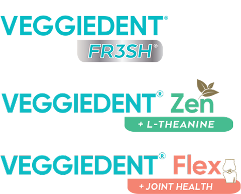 Text with logo: C.E.T.® VEGGIEDENT® FR3SH® Tartar Control Chews for Dogs, C.E.T.® VEGGIEDENT® Zen Tartar Control Chews for Dogs + L-THEANINE, C.E.T.® VEGGIEDENT® Flex Tartar Control Chews for Dogs, Healthy and fresh breath + JOINT HEALTH